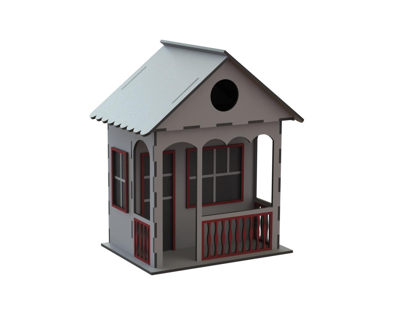 Laser Cut Decorative Wooden Bird House Free CDR Vectors Art