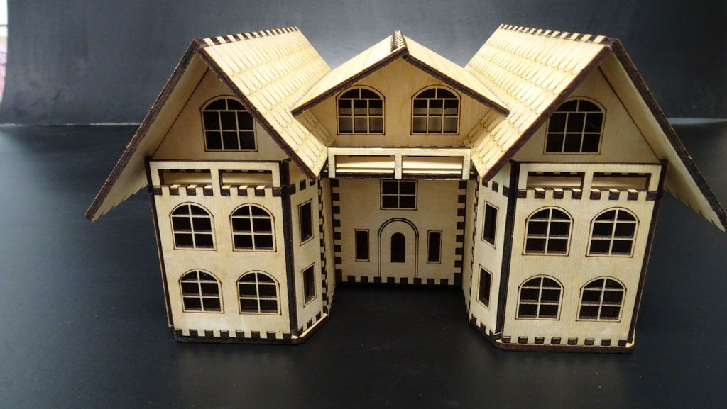 Laser Cut Secretaire House Free CDR Vectors Art