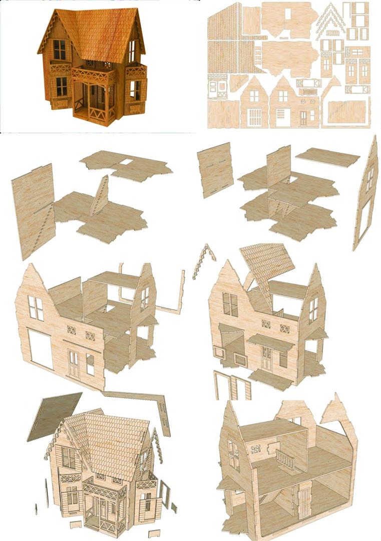 Laser Cut Small House Model Free CDR Vectors Art