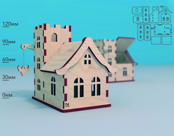 Laser Cut Wooden House Model Bull Tavern Hanging Sign 4mm Free CDR Vectors Art