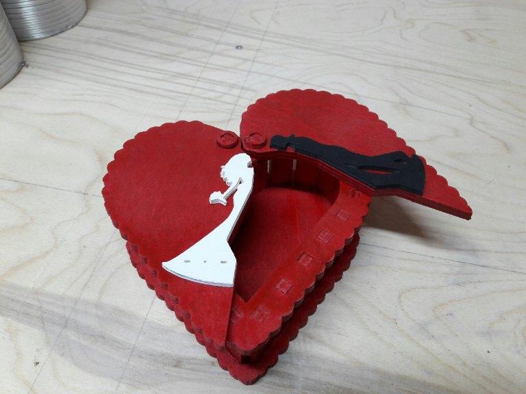Heart Box Drawing For Laser Cut Free CDR Vectors Art