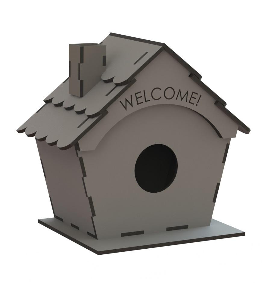 Laser Cut Bird Nest Box Free CDR Vectors Art