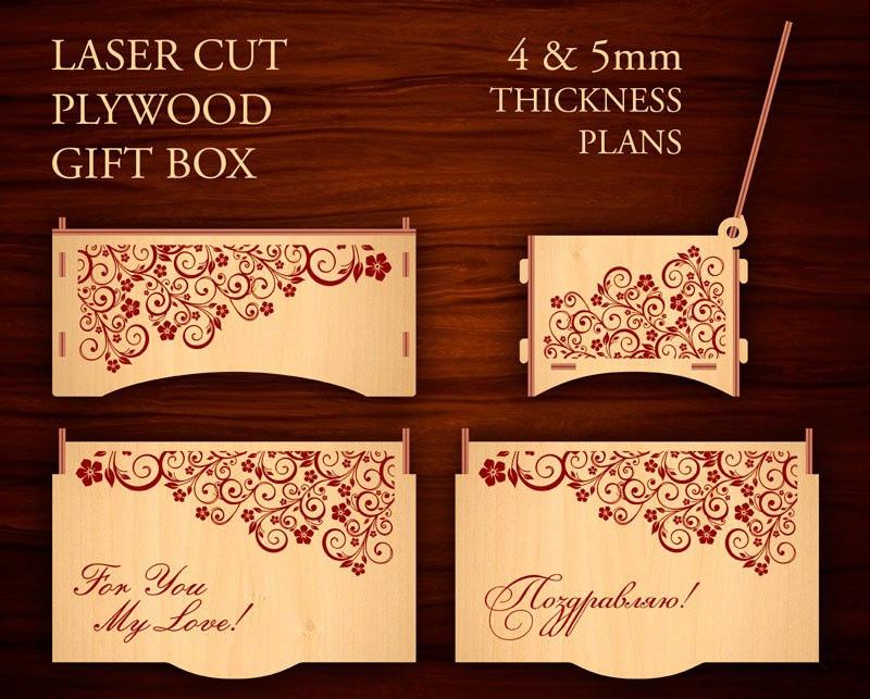 Laser Cut Decor Plywood Gift Box Free CDR Vectors Art