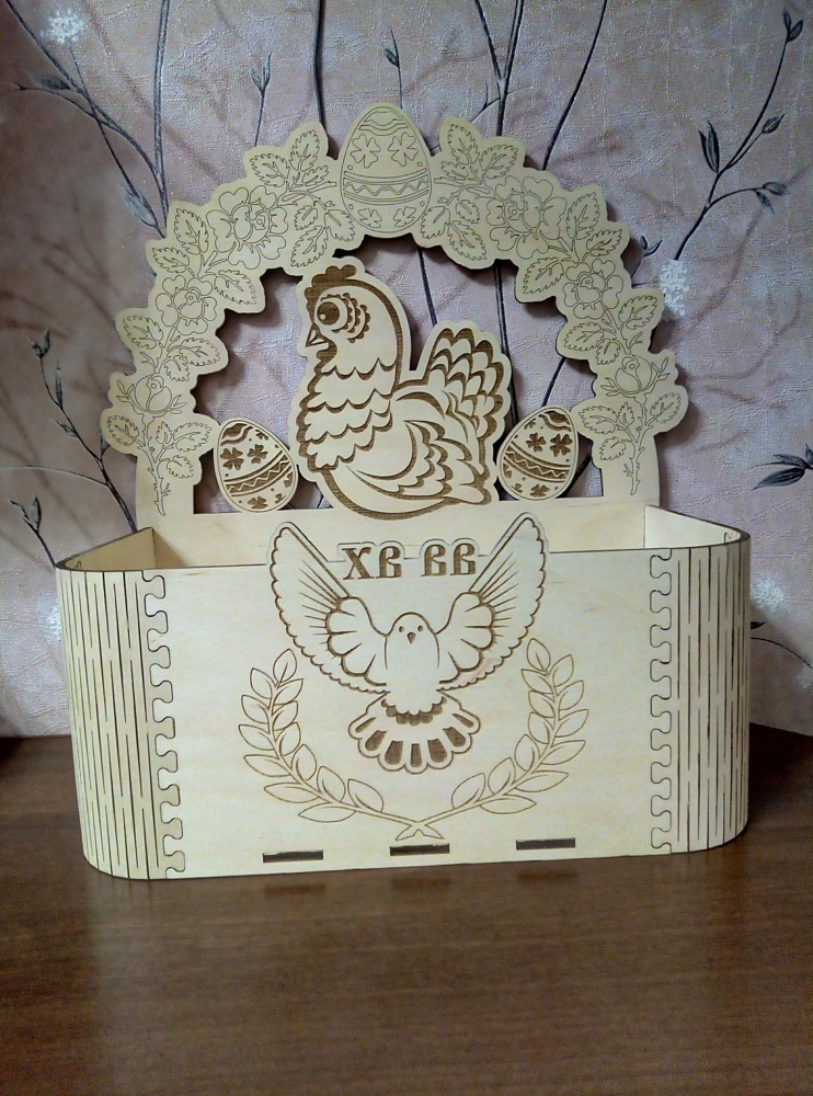 Laser Cut Easter Box Easter Chicken With Eggs Free CDR Vectors Art