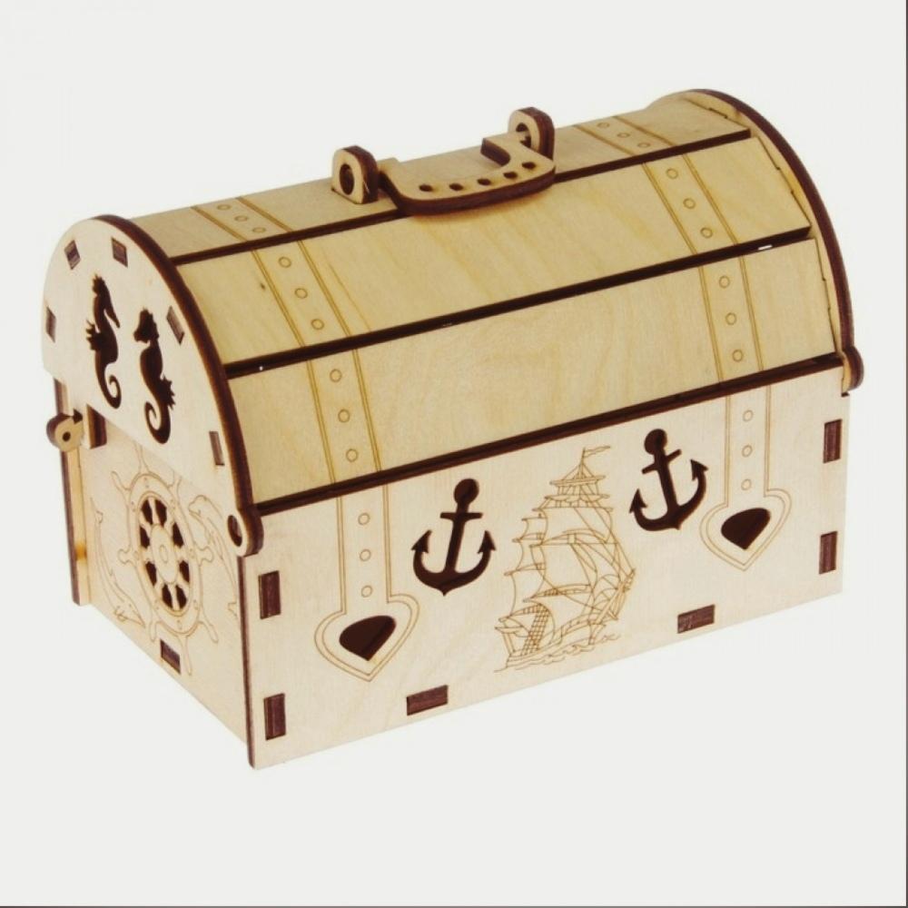 Laser Cut Treasure Chest Box Wooden Free CDR Vectors Art