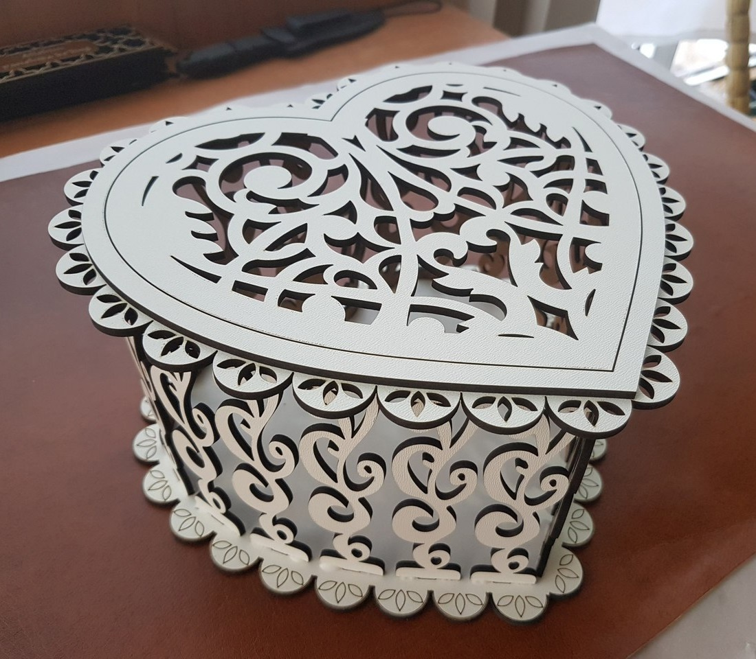 Decorative Wooden Heart Box For Laser Cutting Free CDR Vectors Art