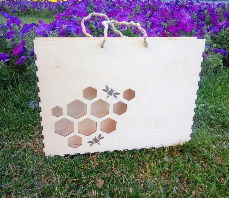 Honey Gift Box Drawing For Laser Cutting Free CDR Vectors Art
