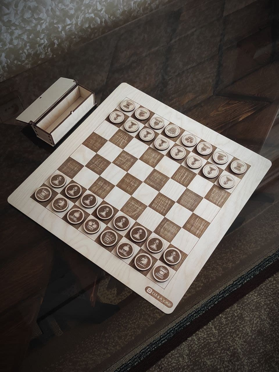 Laser Cut Wooden Chess Set And Box Free CDR Vectors Art