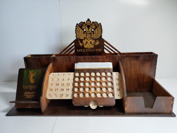 Laser Cut Wooden Desktop Organizer Office Supplies Storage Free CDR Vectors Art