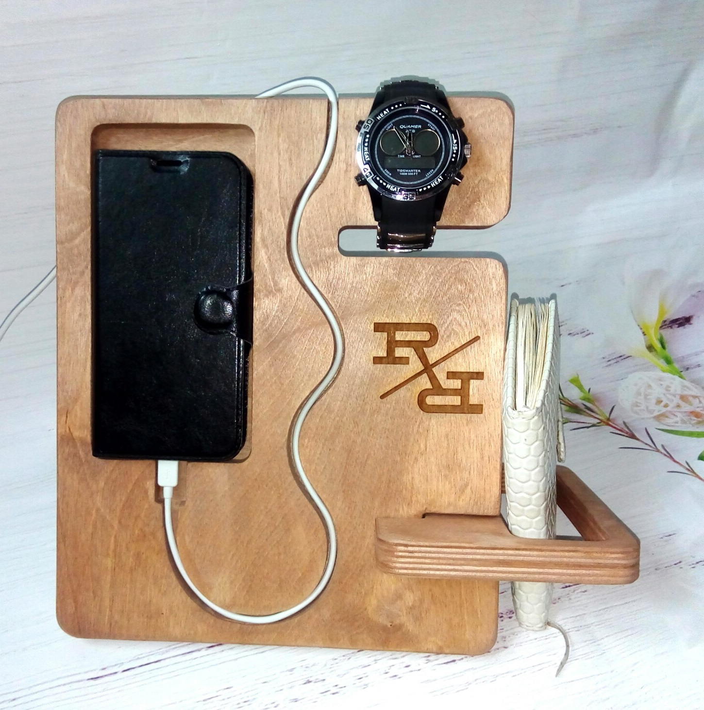 Phone Wallet Watch Organizer Plywood For Laser Cut Free CDR Vectors Art