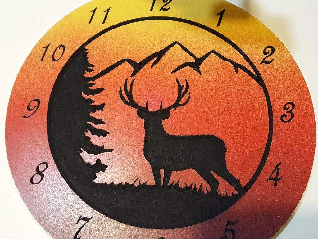 Wooden Deer Clock 12 Inch For Laser Cut Free DXF File