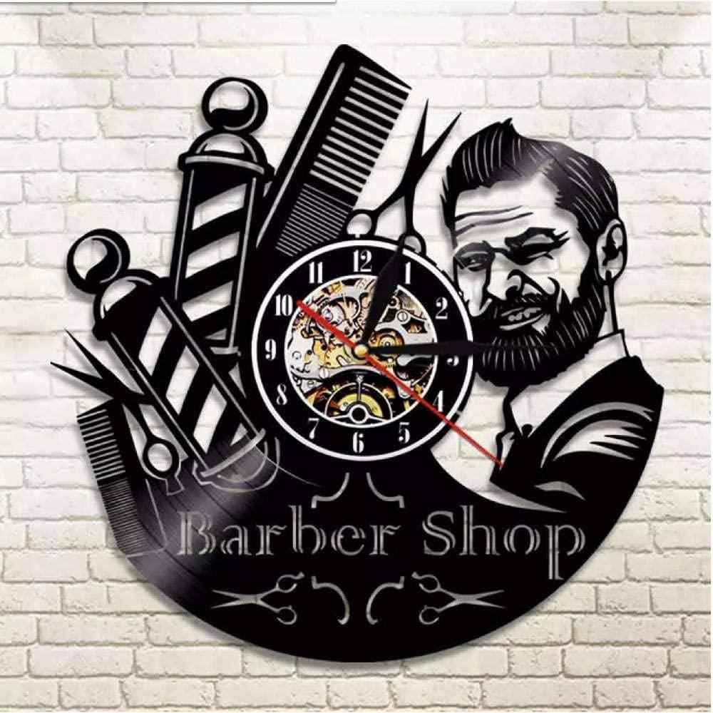 Barber Shop Logo Vinyl Record Wall Clock For Laser Cut Free CDR Vectors Art