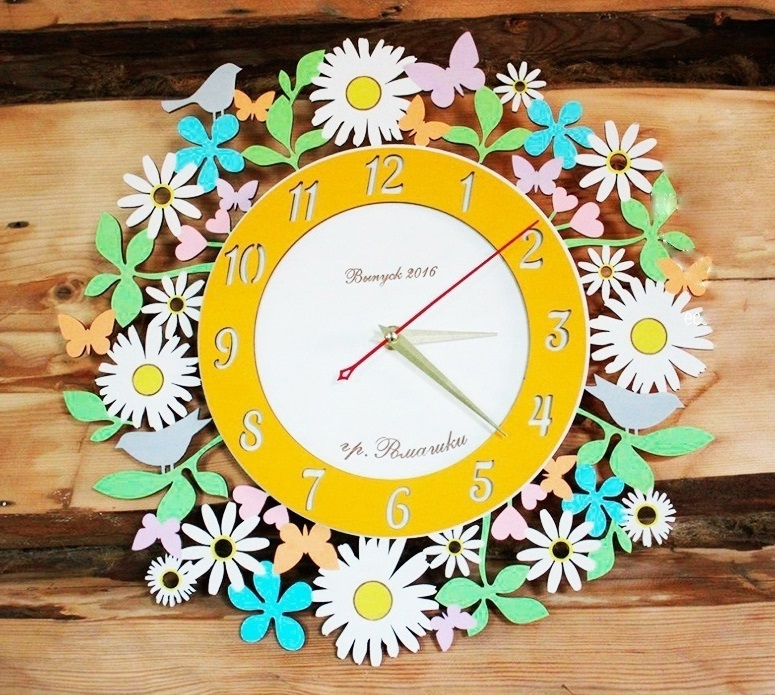 Chamomile Daisy Flower Wall Clock For Laser Cutting Free CDR Vectors Art