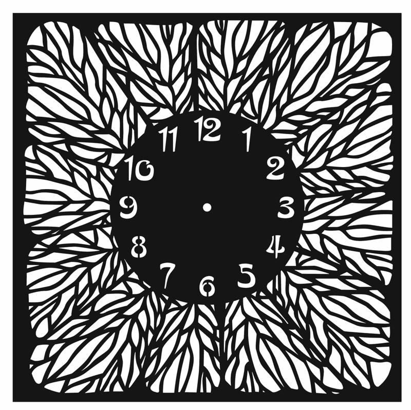 Clock Floral Pattern For Laser Cut Free CDR Vectors Art