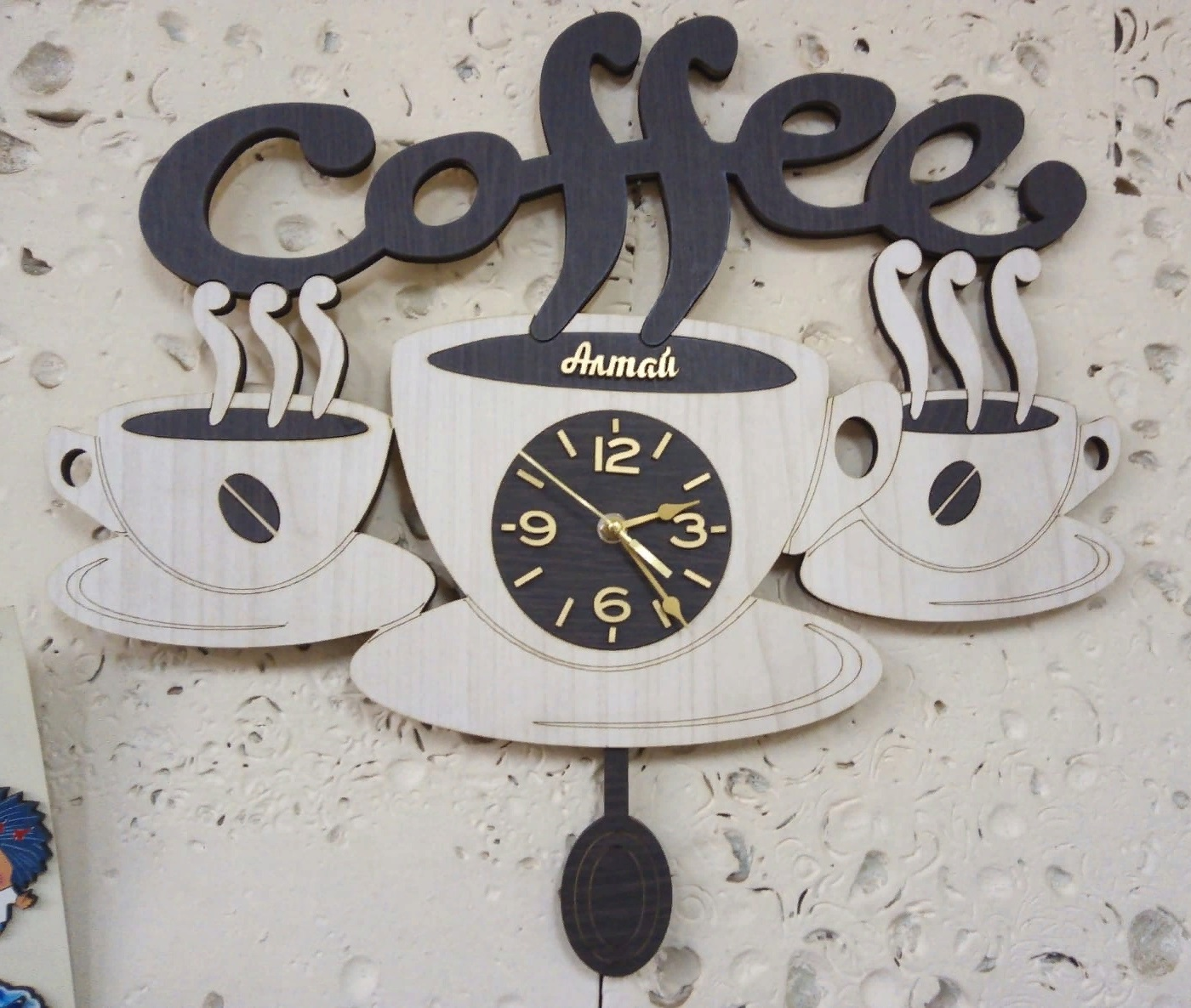 Coffee Cup Wall Clock For Laser Cutting Free CDR Vectors Art