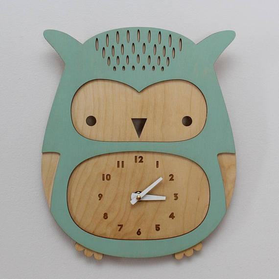 Cute Baby Owl Wall Clock Kids Room Decor For Laser Cutting Free CDR Vectors Art