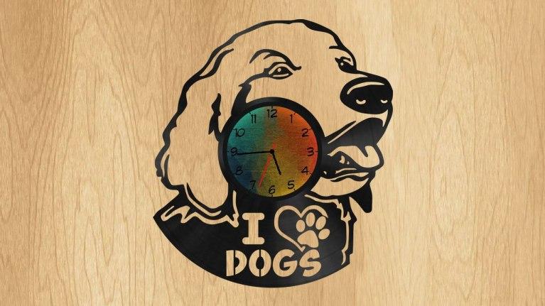 Dog Clock Cdr Drawing For Laser Cut Free CDR Vectors Art