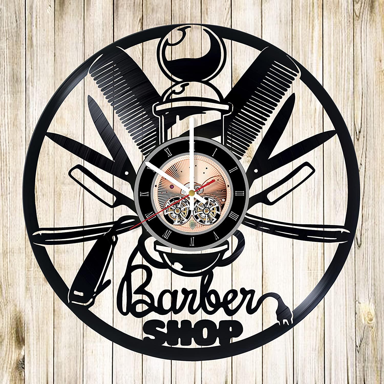 Hair Salon Wall Decor Vinyl Record Wall Clock For Laser Cut Free CDR Vectors Art