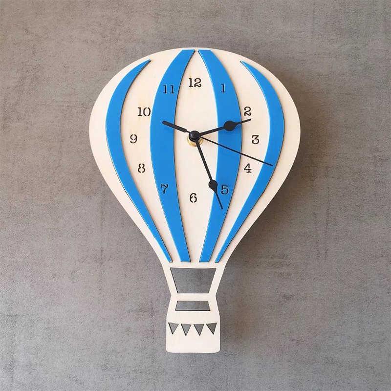 Hot Air Balloon Wall Clock Kids Room Wall Decor For Laser Cutting Free CDR Vectors Art