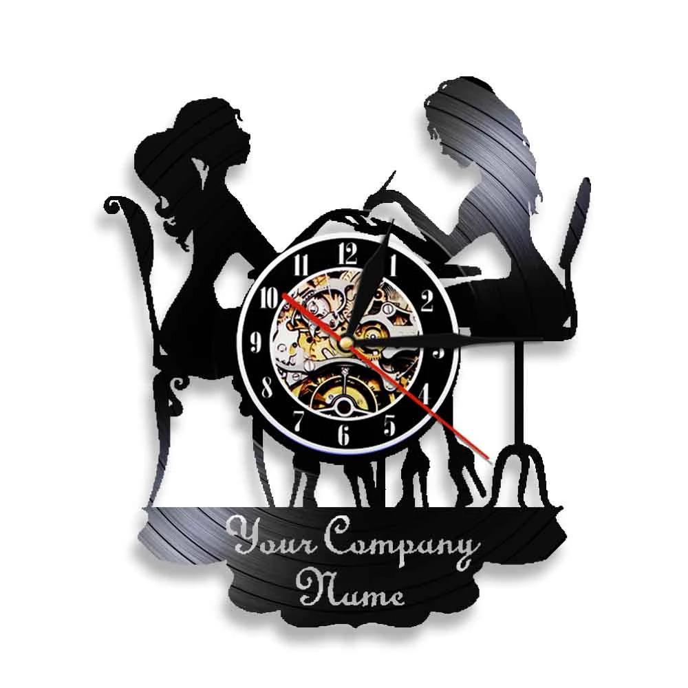 Laser Cut Beauty Shop Nail Salon Wall Clock Manicure Salon Vinyl Wall Clock Free CDR Vectors Art