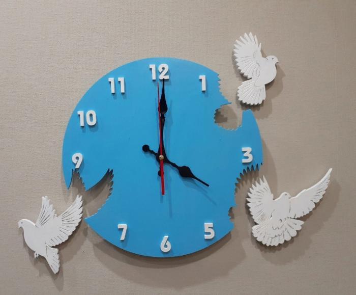 Pigeon Wall Clock For Laser Cut Free CDR Vectors Art