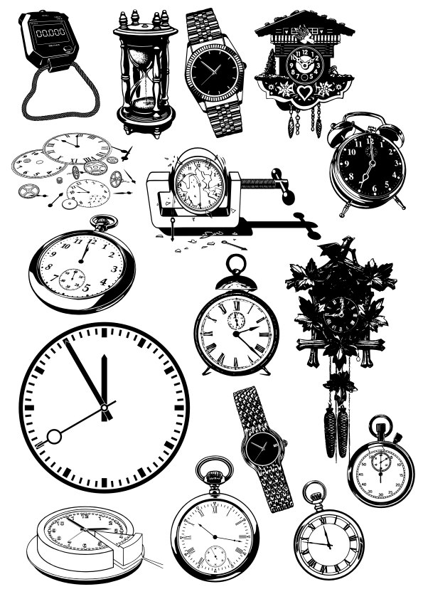 Time Clock And Watch Icon Set For Laser Cut Free CDR Vectors Art