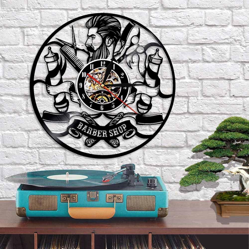 Vinyl Record Wall Clock Hipster Hair Salon For Laser Cut Free CDR Vectors Art