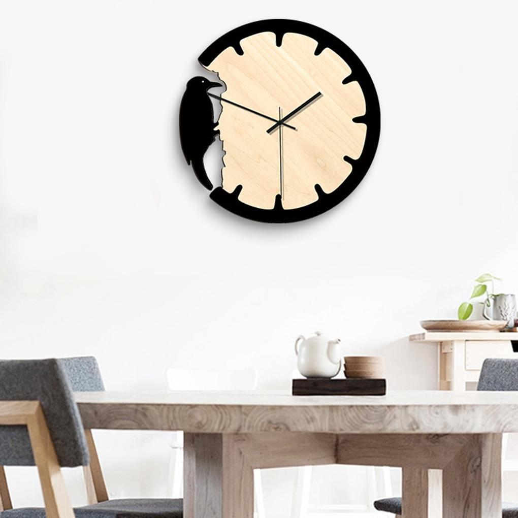 Wall Clock Modern Design Decorative Woodpecker Style For Laser Cut Free CDR Vectors Art