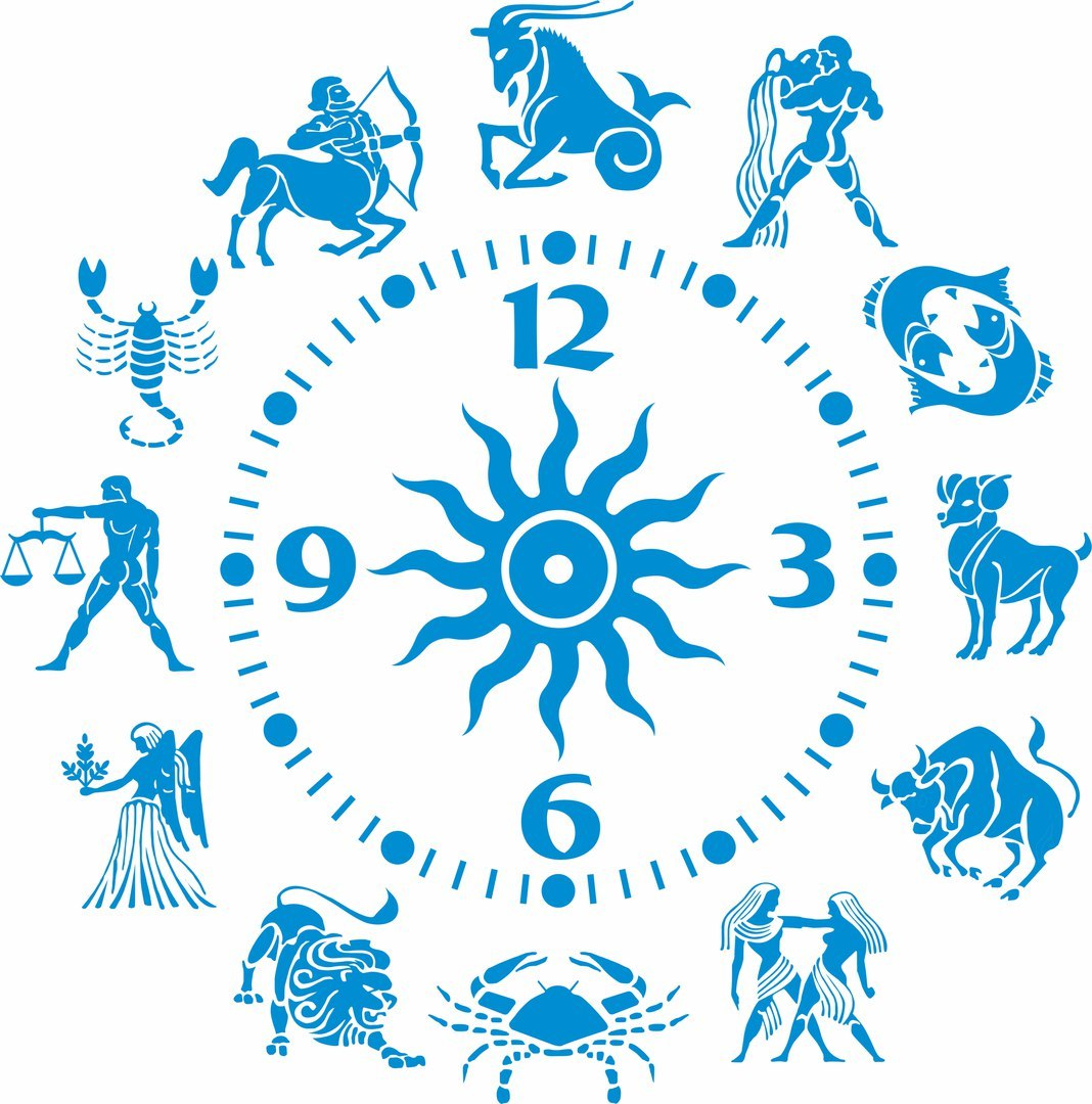 Zodiac Sign Clock For Laser Cut Free CDR Vectors Art