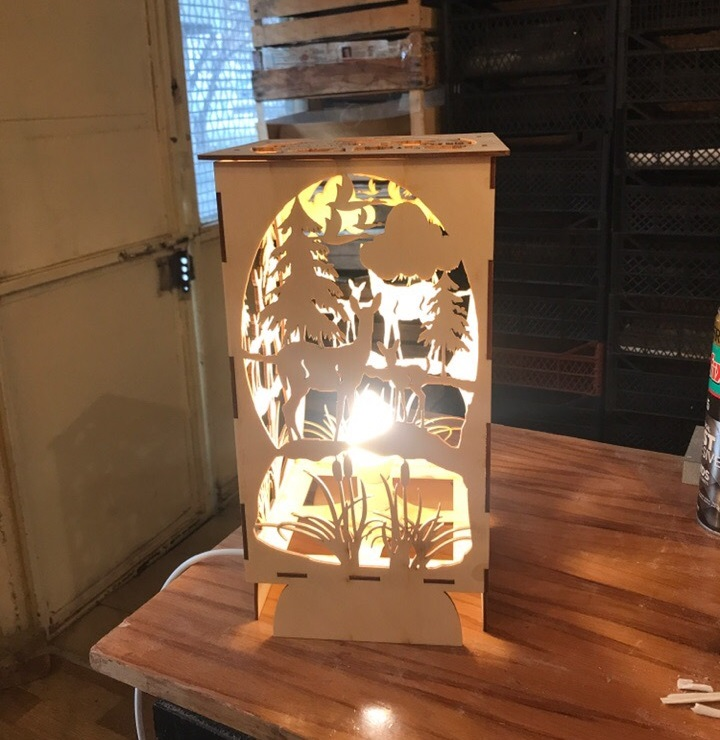 Bambi Forest Night Light Lamp For Laser Cutting Free CDR Vectors Art