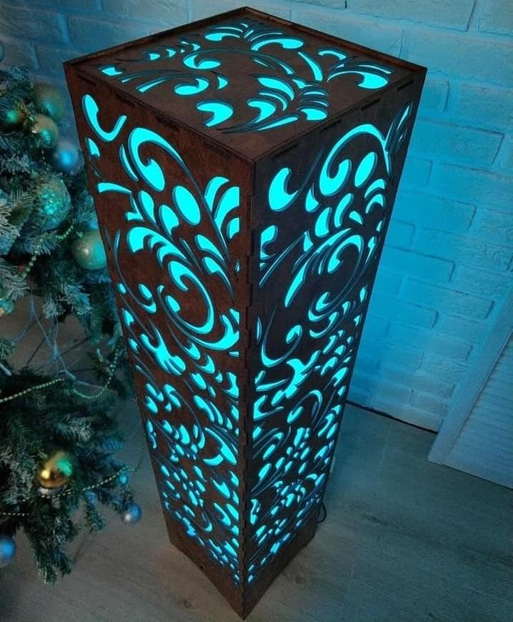 Flower Design Wooden Floor Lamp Laser Cut Free CDR Vectors Art
