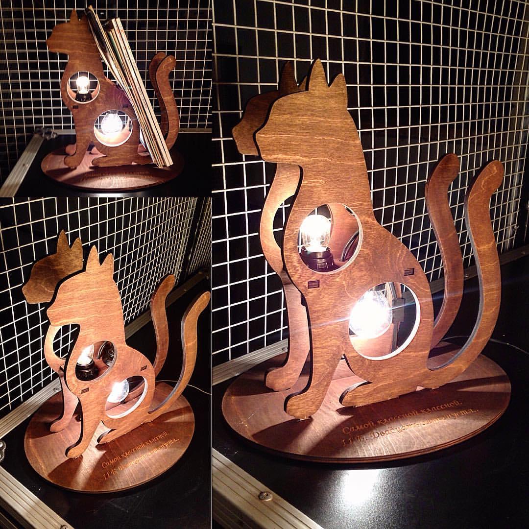 Laser Cut Cat Shape Lamp 3d Puzzle Free CDR Vectors Art