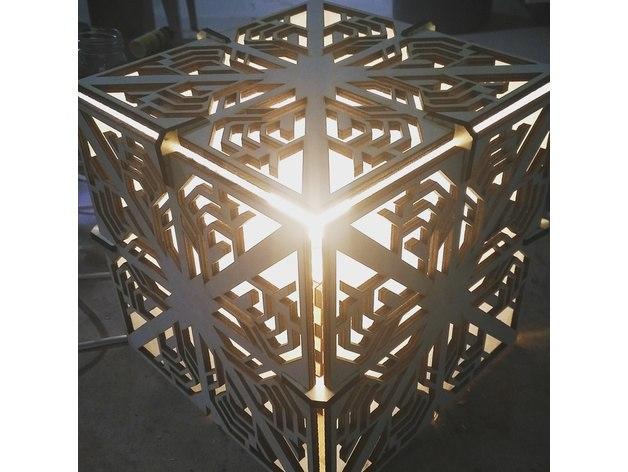 Laser Cut Cube 6mm Wood Lamp Free CDR Vectors Art