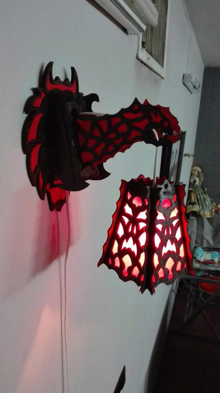 Laser Cut Dragon Lamp 3 Mm Free CDR Vectors Art