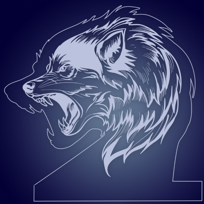 Lone Wolf Night Light Lamp For Laser Cut Free CDR Vectors Art