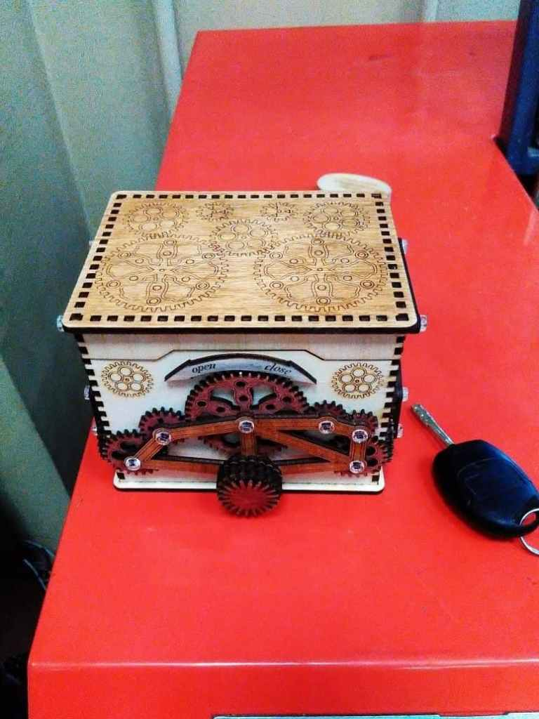 Mechanical Safe Box For Laser Cutting Free CDR Vectors Art