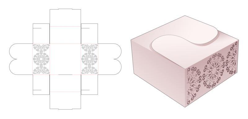 Folding Box With Stenciled Circle Shaped Mandala Die Cut Template EPS Vector