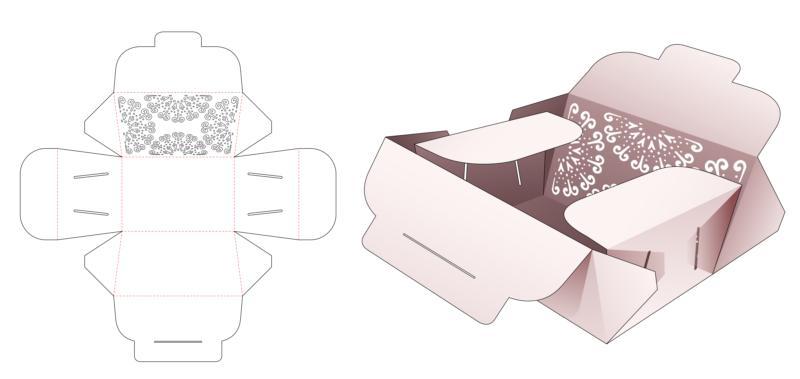 Folding Flip Box And Stenciled Mandala Die Cut Template EPS Vector