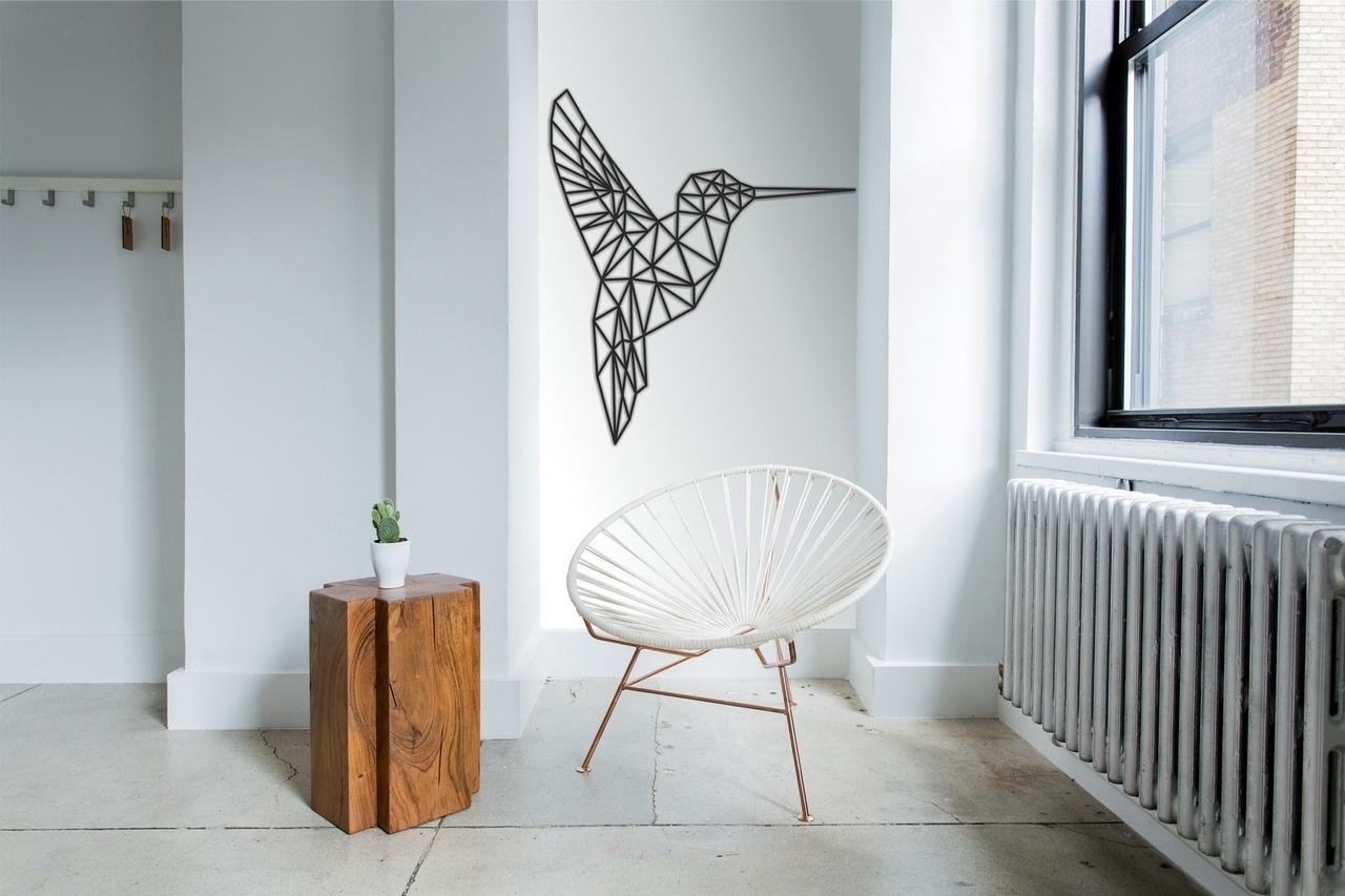 Laser Cut Hummingbird Geometric Polygonal Modern Wall Art Free CDR Vectors Art