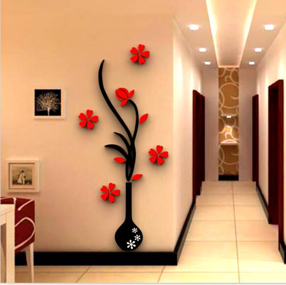 Laser Cut Vase Flower Tree Crystal Acrylic Wall Art Free CDR Vectors Art