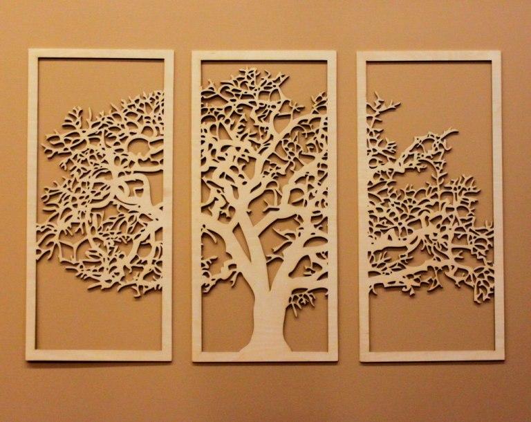 Laser Cut Wooden Tree Wall Art Free CDR Vectors Art