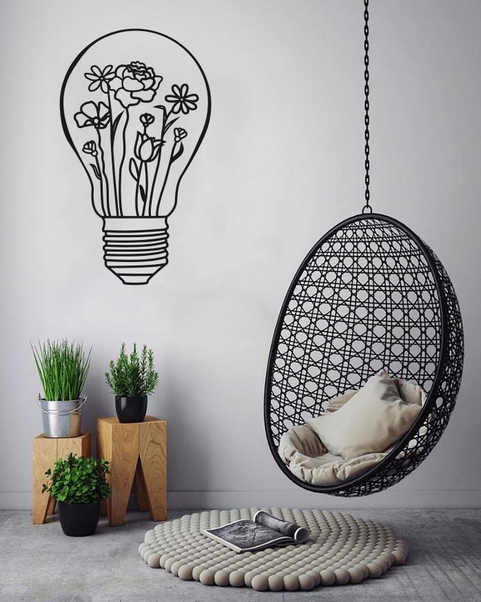 Light Bulb Wall Art Decal For Laser Cut Free CDR Vectors Art