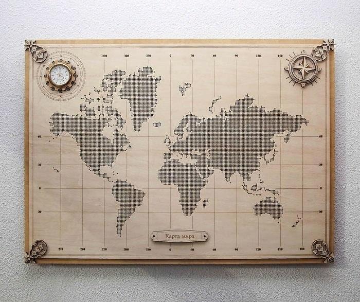 World Map Wall Decor For Laser Cut Free CDR Vectors Art