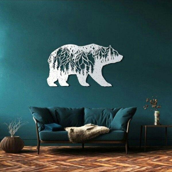 Laser Cut Decorative Bear Wall Decor Free DXF File