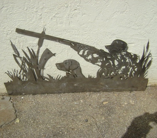 Laser Cut Hunter With Dog Wall Panel Free DXF File