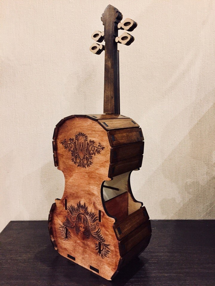 Cello Violin Tea House For Laser Cut Free CDR Vectors Art