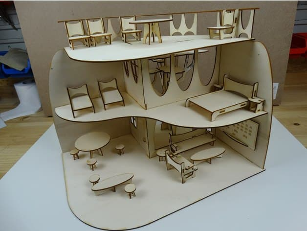 Doll House With Furniture For Laser Cutting Free CDR Vectors Art