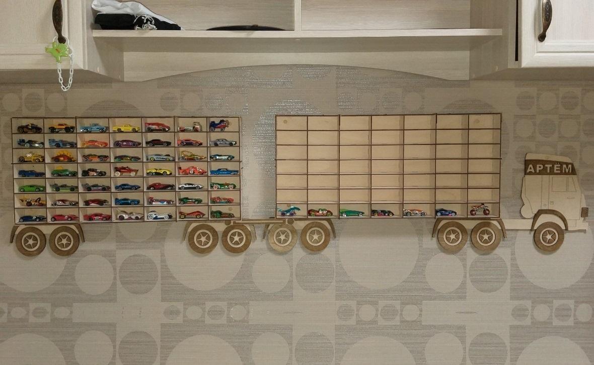 Wooden Truck Toy Car Storage Shelf 3mm For Laser Cut Free CDR Vectors Art