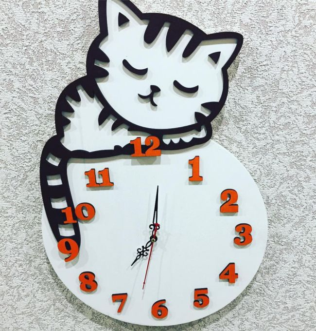 Clock With A Cat For Laser Cutting Free CDR Vectors Art