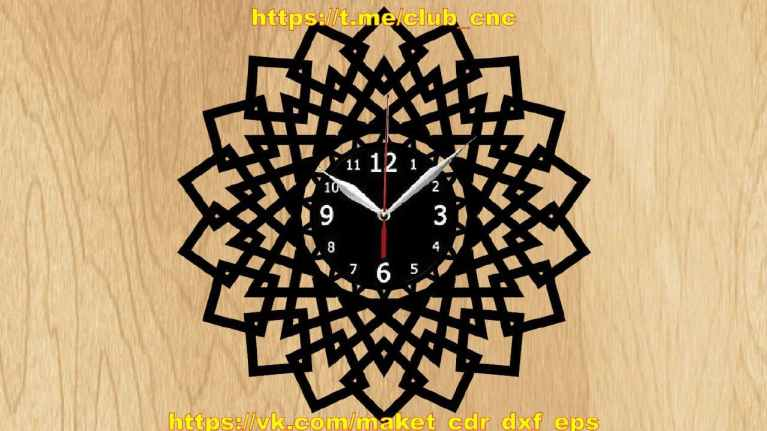 Geometry Clock For Laser Cutting Free CDR Vectors Art